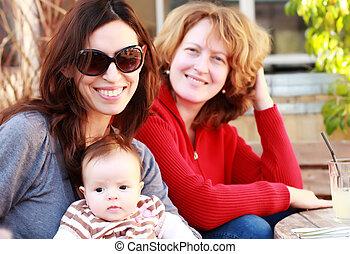 beau bébé, extérieur, filles, deux