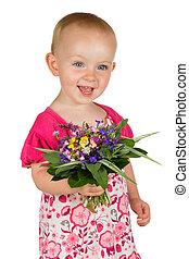 beau bébé, girl, fleurs, posy