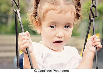beau bébé, girl, parc