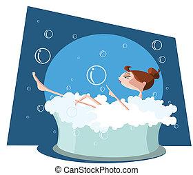 beau, baignoire, prendre, femme, bain