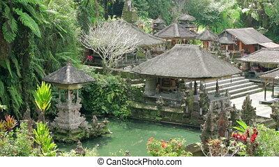 beau, balinais, temple