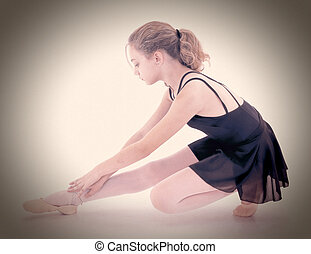 beau, ballerine, coupure, stretching., dramatique, portrait., path., caucasien