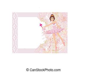 beau, ballerine, fleur, résumé, -, cadre, carte