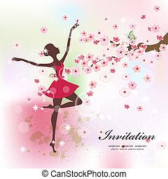 beau, ballerine, fleurs