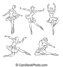 beau, ballerine, vecteur, main, dessiné