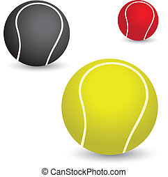 beau, balles, coloré, tennis, illustration, jaune, noir, colors., rouges