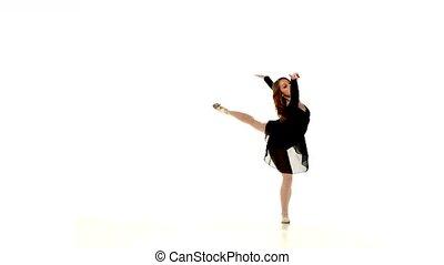 beau, ballet, femme, isolé, danseur, fond, blanc rouge