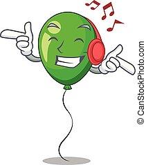 beau, ballon, vert, écoute, musique, rubans, dessin animé
