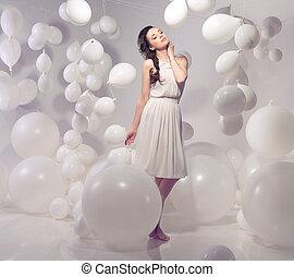 beau, balloon, brunette, fond, beauté