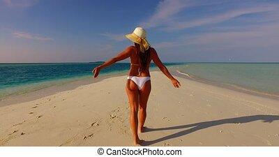 beau, banc sable, mer, sablonneux, bleu, 1, bains de soleil...