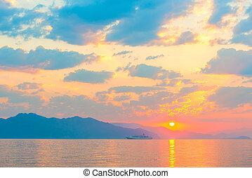 beau, bateau passager, levers de soleil, mer