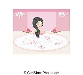 beau, bathroom., baigner, femme, baignoire