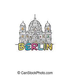 beau, berlin, sketched, icône