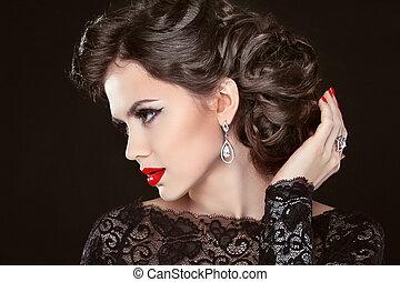 beau, bijouterie, maquillage, cheveux, élégant, retro, girl, modèle