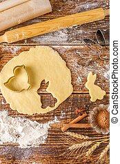 beau, biscuits, bois, vie, arrière-plan., petit gâteau, making., encore, paques