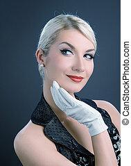 beau, blanc, femme, gants, jeune