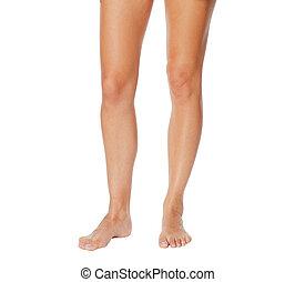 beau, blanc, jambes, isolé, femme