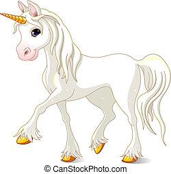 beau, blanc, licorne