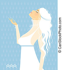 beau, blanc, -, signes, zodiaque, robe, girl