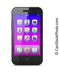 beau, blanc, smartphone, fond