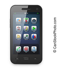 beau, blanc, smartphone, noir, highly-datailed