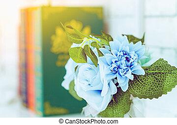 beau, blanc, trois, image, bleu, blured, table, roses, ...