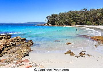 beau, blenheim, australie, plage, plages