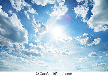 beau, bleu, blanc, nuages, ciel