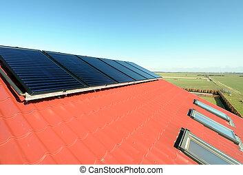 beau, bleu, champ, fenetres, ciel, toit, fond,  closeup, solaire, petit, vert, panneaux, rouges