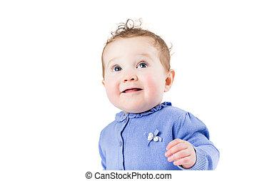 beau, bleu, chandail, bouclé, isolé, cheveux, bébé, portrait, girl, blanc