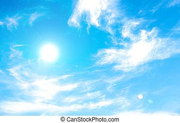 beau, bleu, ciel, nuages, soleil