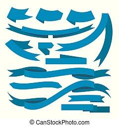 beau, bleu, ensemble, illustration., fête, texte, fond, vecteur, prêt, blanc, rubans, ton