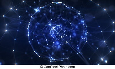 beau, bleu, fait boucle, réseau, business, éclats (flares), seamless., résumé, futuriste, virtuel, hologramme, sphère, rotation, animation, 4k, 3840x2160, ultra, technologie, concept., hd, 3d