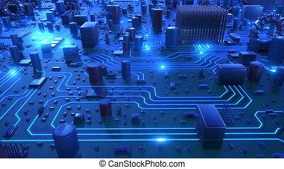 beau, bleu, fait boucle, vol, carte mère, flares., sur, lights., courant, animation, planche, circuit, technologie numérique, concept., 3d