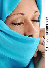 beau, bleu, femme, musulman, jeune, écharpe