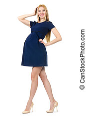 beau, bleu, femme, pregnant, isolé, robe blanche