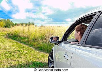 beau, bleu, femme, voiture, ciel, fenêtre, regarder, champ, clair, sous, sport