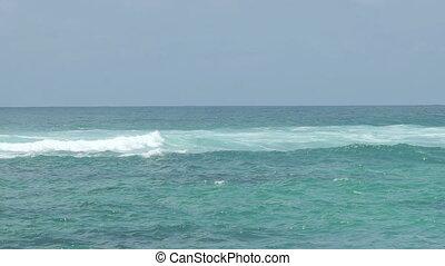 beau, bleu, géant, lent, vague, mouvement, océan