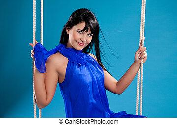 beau, bleu, girl, brunette, robe