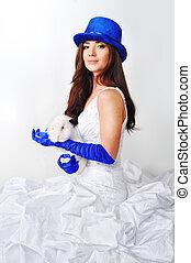 beau, bleu, girl, chapeau, robe