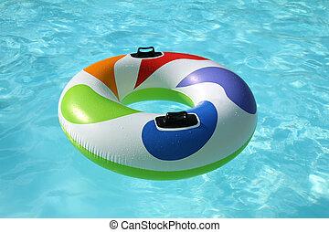 beau, bleu, gonflable, bouée, flotter, piscine