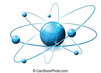 beau, bleu, illustration, résumé, molécule, couleurs claires