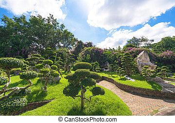 beau, bleu, jardin, arbre, ciel, vert