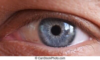 beau, bleu, lent, coup, macro, motion., oeil humain, mâle, 1920x1080