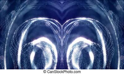 beau, bleu, microworld, fait boucle, iridescent, espace, anneaux, particules, fiction, v1, thème, fond, science, mystérieux, lumineux, particles., brillant, ou