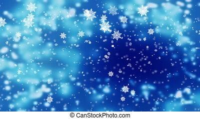 beau, bleu, neigeux, sur, neige, lumières, brouillé, glacial, fond, tomber, doux, jour