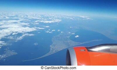 beau, bleu, nuages, flotteur, ciel, nuages, fenêtre, au-dessus, blanc, vue, sol avion