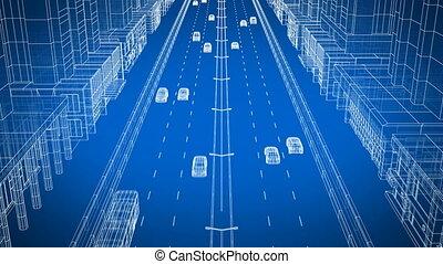 beau, bleu, plan, ultra, hd, conduite, ville, voitures, résumé, moderne, animation, 4k, arrière-plan., rue, 3840x2160., numérique, 3d, technologie, concept., transport, traffic.