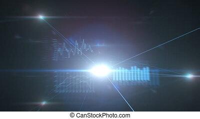 beau, bleu, réseau global, business, données, concept., voler, flares., graphiques, fait boucle, connections., croissant, eclats, 3d, technologie, animation, creux