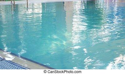 beau, bleu, rafraîchissant, 4k, eau piscine